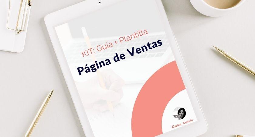 pagina de ventas: kit guía + plantilla